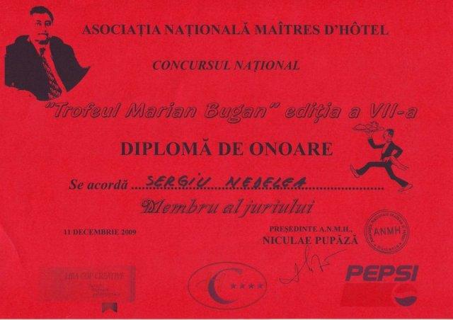 Diploma - Trofeul Marian Bugan
