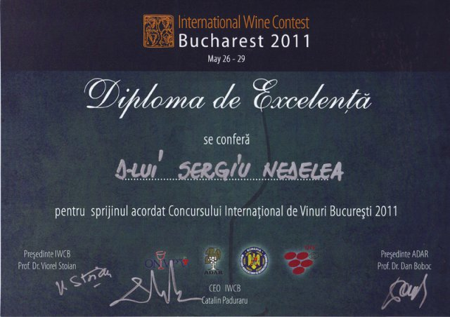 Diploma International Wine Contest Bucharest 2011